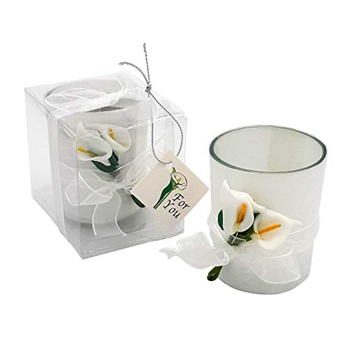 FashionCraft Calla Lily Tealight Candle Holders, Votive Clear Glass Calla Lily Design Candle Favors - Ideal for Wedding Decorations, Party Favors, Centerpieces & Home Decor Set of 24