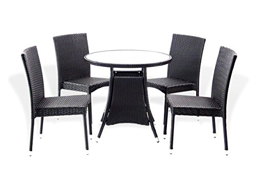 5 Pc Patio Resin Outdoor Wicker Dining Set. Round Table w/Glass+4 Side Chair. Black Color