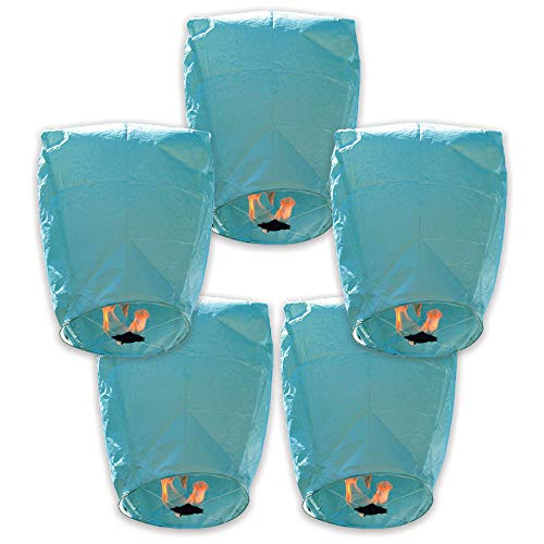 Just Artifacts Mini Eco-Wire Free Biodegradable Eclipse Floating Sky Lanterns (Set of 5, Blue)