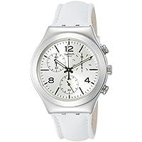 Swatch Men's Irony YCS111 Leather Swiss Quartz Dress Watch (White)