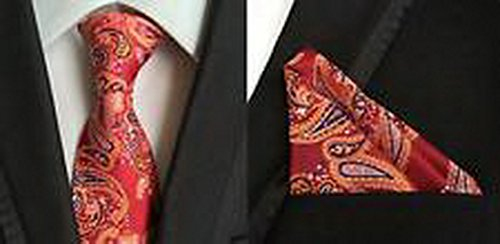 Jacob AleX #47165 Costume Paisley Men's Red JACQUARD WOVEN Necktie Pocket Square Hankerchief (Putty Patrol Costume)