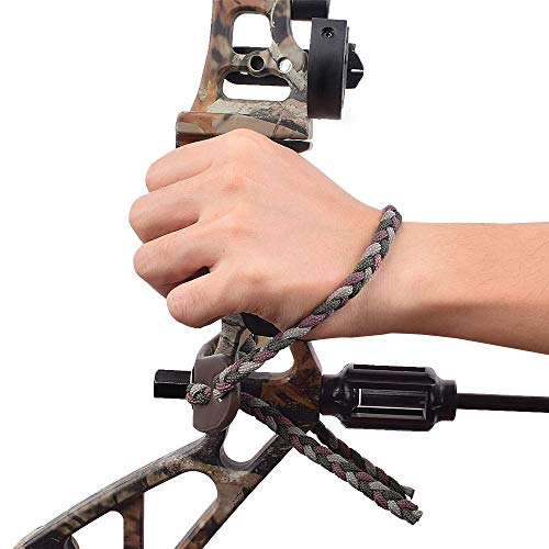 500 Paracord Bow Wrist Sling Gear Adjustable Bow Strap Leather Yoke Metal Grommet Survival Hunting Archery-Camo