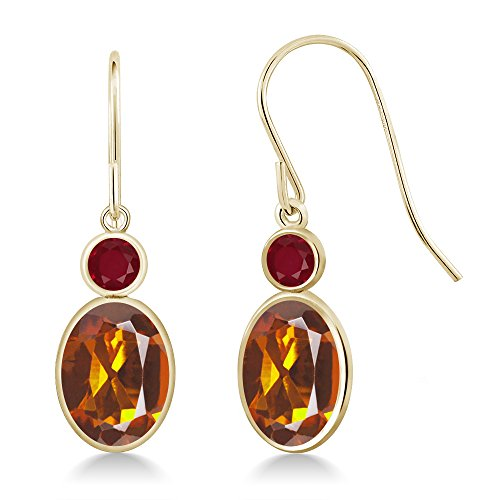 - 2.48 Ct Oval Orange Red Madeira Citrine Red Ruby 14K Yellow Gold Earrings