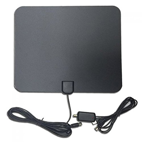 TV Antenna, AMZTOP Indoor HDTV Aerial 50 Miles Range with Aluminum Foil Antenna, Detachable Signal Amplifier Booster for 1080P Digital TV, High Reception and Stronger (Tv Aerial Reception)