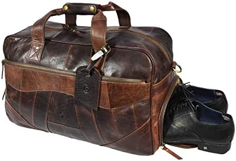 bc5ffad9a74c 19 Inch Leather Travel Duffle Bag For Men Overnight Weekend Luggage ...