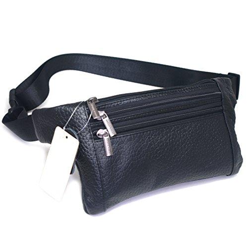 Mens Leather Waist Hip Lumbar Fanny Pack Bag Womens Travel Cell Phone Pocket (Black E23)
