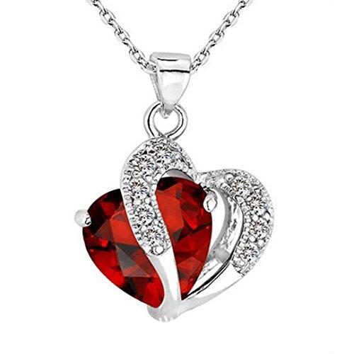 14k Heart Beaded (HIRIRI Fashion Women Heart Crystal Rhinestone Silver Chain Pendant Necklace Jewelry (Red))
