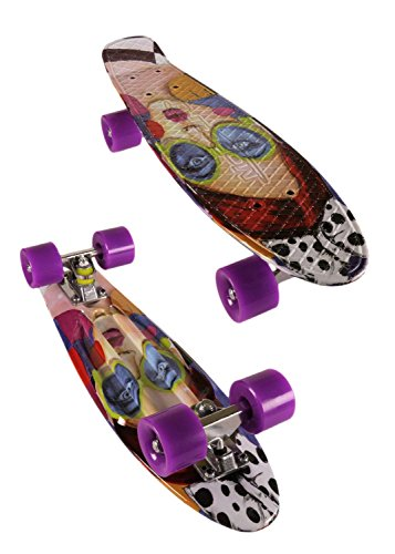 MoBoard Graphic Complete Skateboard | Pro/Beginner | Metal Bearings | 22 Inch Vintage Style with Interchangeable Wheels (Graphic/Purple)