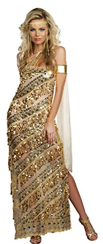 [Dreamgirl Womens Historic Golden Athena Goddess Theme Party Halloween Costume, L (10-14)] (Athena Adult Plus Costumes)