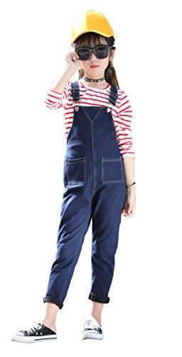 (Girls Big Kids Denim Overalls Smiley Face Strecthy Long Rompers Dark Blue 140)