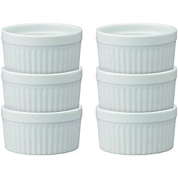 HIC Ramekins, Fine White Porcelain Souffle, 4-Inch, 8-Ounce Capacity, Set of 6