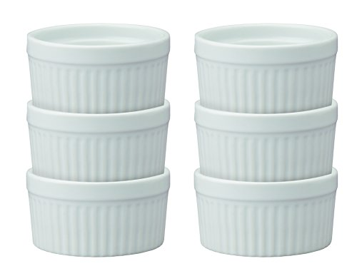 HIC Ramekins, Fine White Porcelain Souffle, 4-Inch, 8-Ounce Capacity, Set of 6 by HIC Harold Import Co.