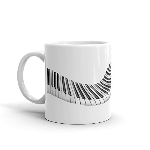 Swirl Piano Keys - Coffee Mug (11oz or 15oz) | PERSONALIZED Name Option + FREE SHIPPING | Great for piano lover music teacher musician pianist (Mug Oz Swirl 15)