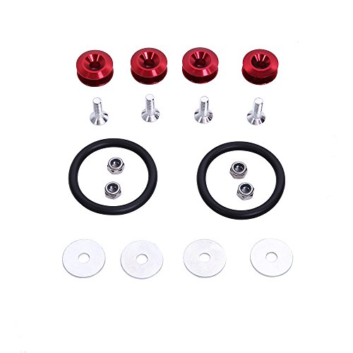 Hiwowsport Black JDM Quick Release Fasteners For Car Bumpers Trunk Fender Hatch Lids Kit (Red Trunk Lid)