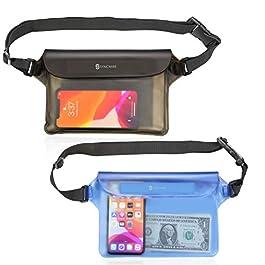 Syncwire Pochette Étanche Téléphone Portable – Lot de 2 – Sacoche Imperméable Sac Banane Écran Tactile, Sangle Réglable…