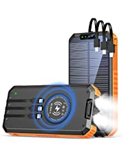 Solar Power Bank 30000mAh, Wireless Portable Solar Charger Fast Charging Power Bank, Solar Phone Charger with 3 Cables & LED Flashlights, Compatible with Smartphones, Tablets