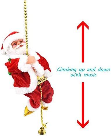 Martinimble 1 Pcs Electric Climbing Ladder Santa Claus Christmas Figurine Ornament Decoration Gifts