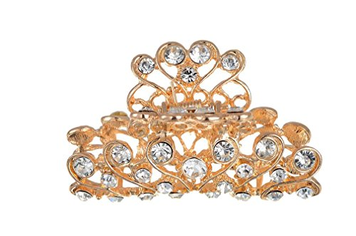 Gold Diamante Hair Claw Clip Grip Pink Crystal Bridal Party Prom New (Clip Claw Jewelry)