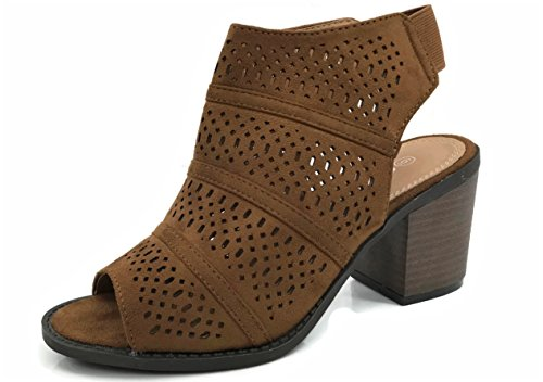 Open Toe Steven Sandals (Women's Audrey Sandal Bootie with Cut Out Faux Leather Mid Heel, Tan Suede, 5.5)