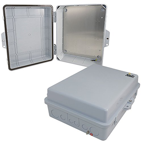 Altelix 14x11x5 Polycarbonate + ABS Weatherproof Rainproof Tamper Resistant NEMA Enclosure with Aluminum Equipment Mounting (Enclosure Mounting)