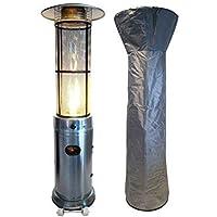 Traedgard Chauffage de terrasse à gaz California avec détendeur, roulettes et Housse de Protection, 180 cm de Hauteur