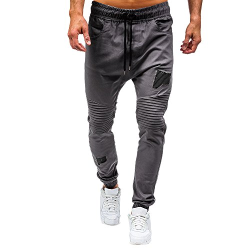 Mens Classic Trousers, Balakie Drawstring Joggers Pants Pleated Patch Sweatpants(Gray,M)