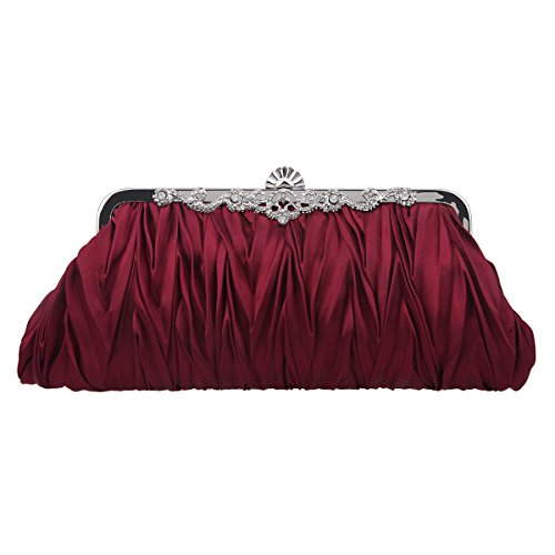 (Fawziya Satin Pleated Clutch Purses For Women Evening Clutches For Wedding And Party-Red)