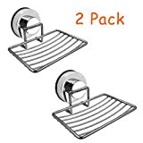 Amoet Soap Dish Holder Stainless Steel Suction Cup Soap with Hooks| Soap Dish Rack | Soap Tray | Soap Saver Dish | Soap Basket Sponge Holder for Bathroom & Kitchen (2 Pack)