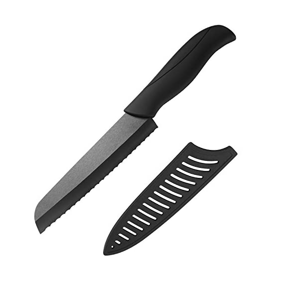 Premium 6 inch Serrated Ceramic Tomato Knife - Sharp Blade Utility Knife with Safety Knife Sheath ... 1 Quality is the soul of our products,we want to providing the highest cost-effective products to our customers,heavier and strong handle,Lifetime Warranty,100% SATISFACTION or MONEY BACK GUARANTEE High quality material: Made of zirconium oxide, keep the original taste, smell of food, maintain the food's freshness and nutrition. Anti-slip design: Designed with anti-slip handles for a good grip, optimal comfort and control while using.