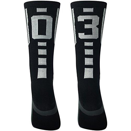 Number Sports Crew Socks, Comifun Mens' Womens' Nfl Sporter Rugby Custom Team Design Id Cool Breathable Mid Calf Athletic Socks,1 Pair,Black/White