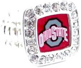 Officially Licensed Ohio State University Buckeyes Silvertone Crystal Studded Stretch Ring