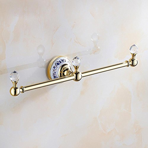 HJKLL-European-style copper-titanium-plated Towel rack, antique bathroom porcelain, metal Towel rack by HJKLL