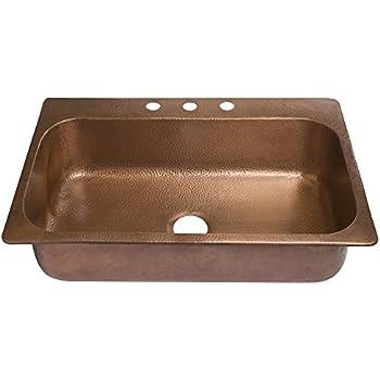 Sinkology Sk101 33ac Angelico Drop In Handmade Copper Sink 33 3 Hole Single Bowl Copper Kitchen Sink Antique Copper
