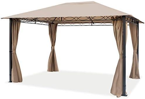 TOOLPORT Cenador de jardín 3x4 m cenador Impermeable pabellón con 4 Partes Laterales 280g/m² Lona de Techo en Carpa de Fiesta marrón: Amazon.es: Jardín