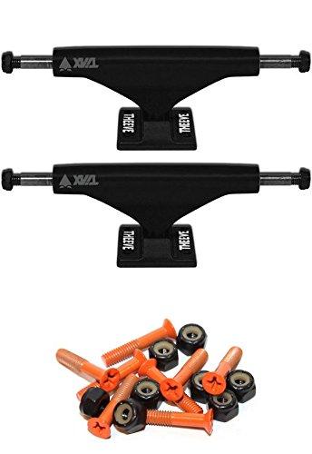 Theeve Tiax ブラックスケートボードトラック 1インチのオレンジの取り付け金具付き   B06X9CVS6C