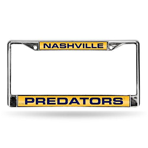 License Frame Nashville Plate Predators - NHL Nashville Predators Laser Cut Inlaid Standard Chrome License Plate Frame, Chrome
