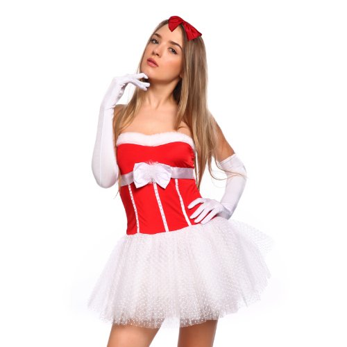 [Naughty Sexy Women Lady Miss Santa Claus Christmas Xmas Lingerie Fancy Dress Hen Night Costume Outfit Clubwear One Size (Santa] (Comic Con Costumes For Females)