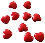 """Luxury & Custom {11mm} of Approx 100 Individual Loose Medium Size Heart """"Puff"""" Beads Made of Genuine Acrylic w/ Classic Romantic Valentine Heart Design {Red}"""