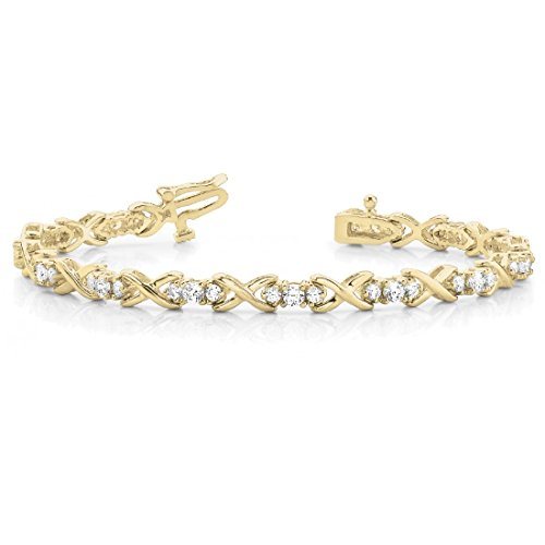 1.95 Ct Round Cut Natural Diamond XOXO Twisted Three Stone 7'' Link Bracelet In 14K Gold (yellow-gold) by omega jewellery
