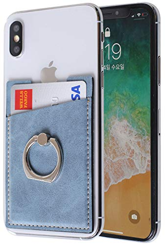 ARASO PU Leather Cell Phone Card Holder with Ring Grip Stand, Adhesive Sticker Back Slim Stick On Card ID Holder Wallet for Cellphones (Blue)