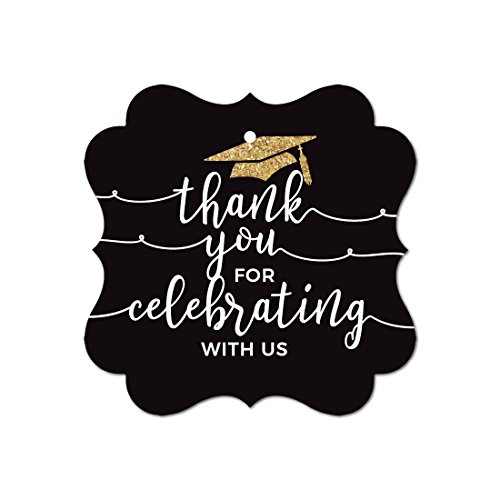 - Andaz Press Black and Gold Glittering Graduation Party Collection, Fancy Frame Gift Tags, Thank You for Celebrating With Us, 24-Pack