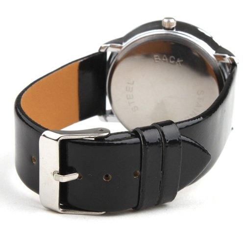 Elegante Reloj Pulsera Quartz Con Correa Negra de Cuero PU: Amazon.es: Relojes