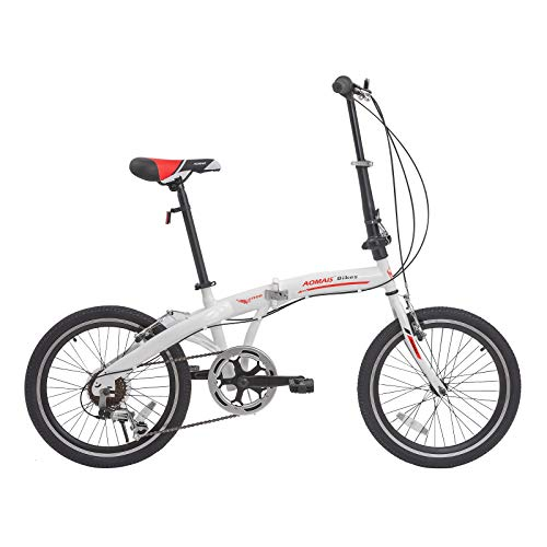 Murtisol Folding Bike 20'' Men's and Women's Bike Fast Speed 6 Speed Commuter Bike Shimano Derailleur Bicycle White