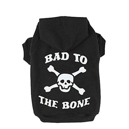 Cat Sweater Clothes - Black S BAD TO THE BONE Printed Skull Cat Fleece Sweatershirt Dog Hoodies