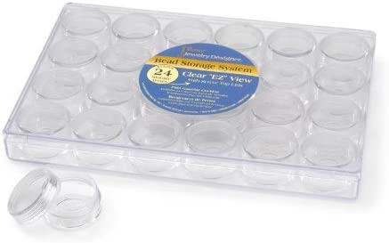 Set of 2 Clear JEWELRY BEAD Storage Case-30 pc EZ View jars organizer containers