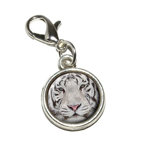 Graphics and More White Bengal Tiger with Blue Eyes Antiqued Bracelet Pendant Zipper Pull Charm with Lobster Clasp