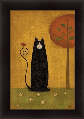 Cat Tails I by Mollie B Folk Art Black Cat 14.5x20.5 in Framed Art Print (Folk Art Frame Picture)