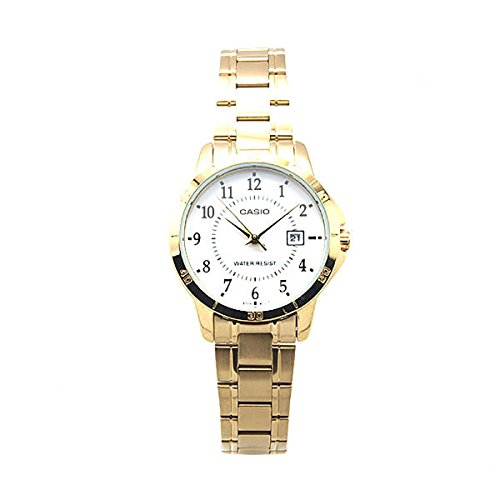 Casio Women's LTP-V004G-7B Gold Ion Plated Stainless Steel Band Analog - Casio Watch Womens Ltp