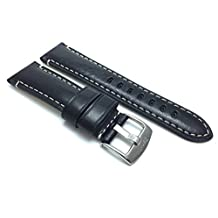 Elegant 22mm Black Watch Strap Band, Glossy Finish, Double Stitching, Band, Black, Brown, Tan and Blue