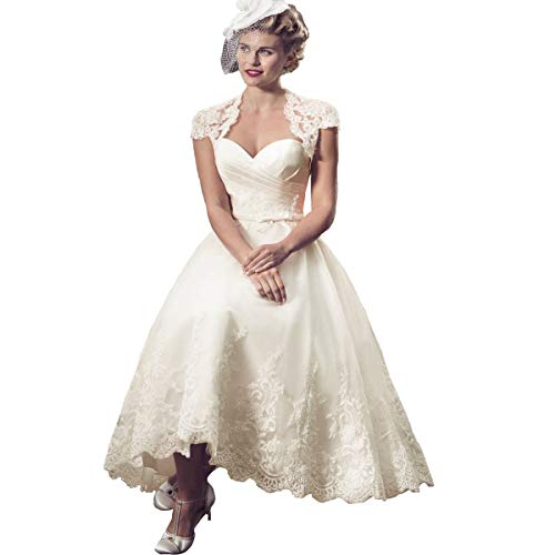 Princess Women's Lace Vintage Sweetheart Appliques Tea Length Wedding Dress 2019 Cap Sleeves A line Bridal Gown Ivory 8